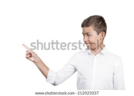 Portrait cheerful happy young handsome man, boy pointing at blank copy space isolated white background. Positive human emotions, facial expressions. Advertisement concept, customer satisfaction - stock photo