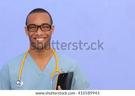 Portrait confident African American male doctor medical professional writing patient notes isolated on hospital clinic. Positive face expression - stock photo