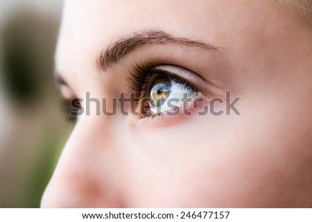Portrait -- Eye's Looking Up - stock photo
