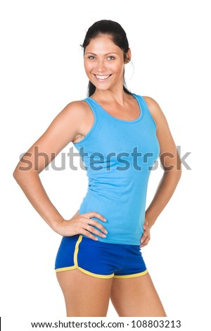 Portrait Fitness Woman. isolated on white background - stock photo
