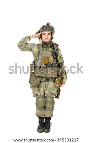 Portrait full length of female soldier saluting. war, army, weapon, technology and people concept. Image on a white background. - stock photo