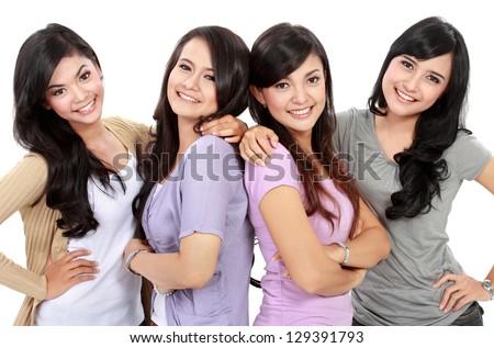 Portrait Group of happy teenagers having fun - stock photo