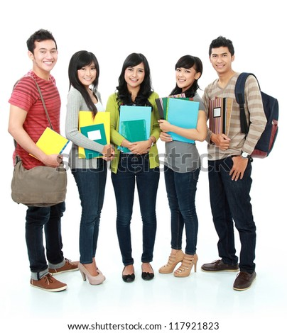 portrait Group of students holding books isolated over white background - stock photo