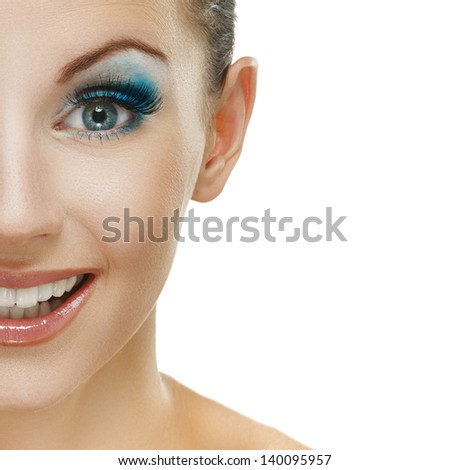 Portrait half, of beautiful young woman close up, isolated on white background. - stock photo