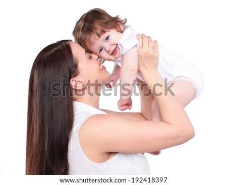 Portrait happy mom and baby on a white background, family, tenderness - stock photo