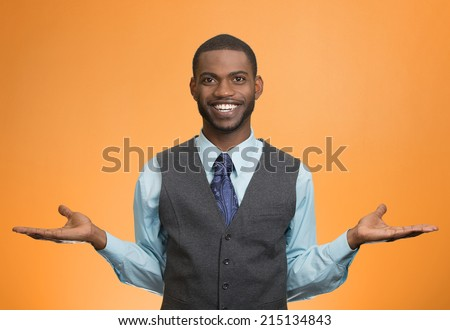 Portrait Happy, Smiling, Friendly looking business man welcoming, arms out isolated orange background. Human facial expressions, positive emotions, feelings, body language, life perception, attitude - stock photo