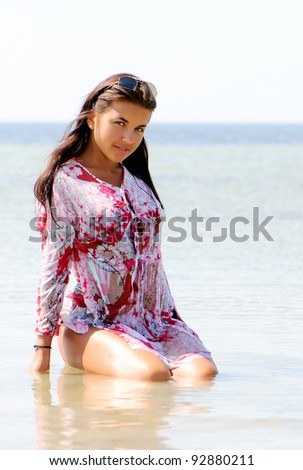 portrait happy young girl in vacation - stock photo