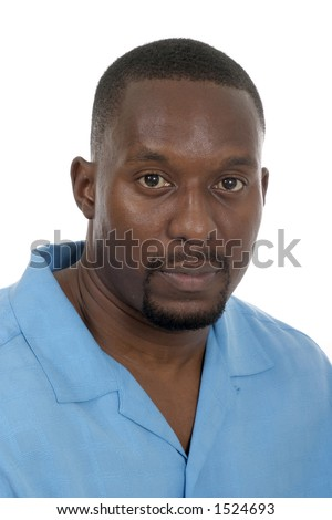 Portrait headshot of a handsome African American male. - stock photo