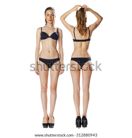 Portrait in full growth, two beautiful models in black lingerie, blonde and brunette, front and back, isolated on white background - stock photo