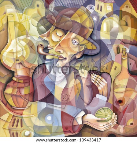 Portrait in style of cubism - stock photo