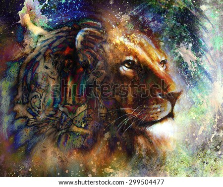portrait lion and Tiger face, profile portrait, on colorful abstract feather pattern background. Abstract color collage with spots. - stock photo