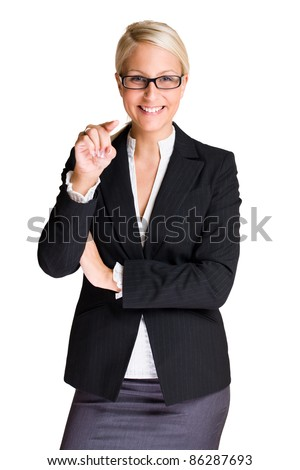 Portrait od friendly attractive blond business woman pointing at the camera isolated on white background. - stock photo