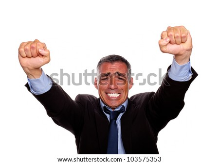 Portrait of a adult latin man with a winning attitude on isolated background - stock photo