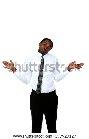 Portrait of a african man with a kind of uncomprehending opened his arms to the sides - stock photo