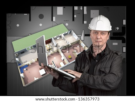 Portrait of a architect with plan in background - stock photo