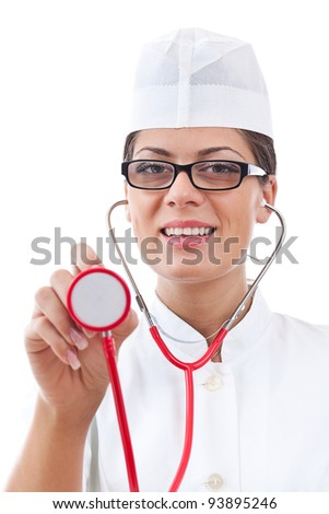 portrait of a attractive woman doctor with stethoscope - stock photo
