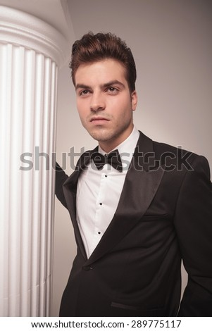 Portrait of a attractive young business man posing near a white column. - stock photo