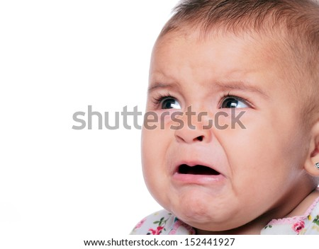portrait of a baby crying isolated on white - stock photo