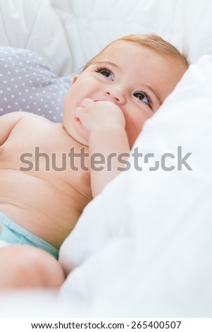 Portrait of a baby in my room - stock photo