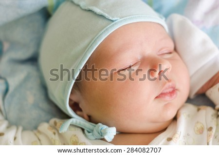 Portrait of a baby who sleeps. Soft focus - stock photo