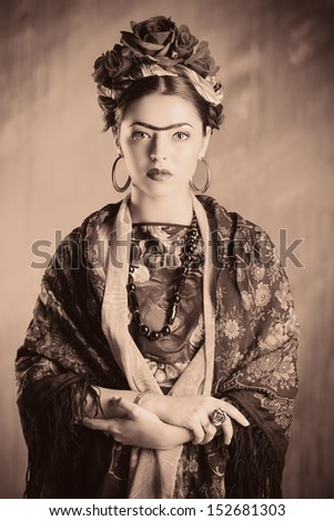 Portrait of a beautiful aristocratic woman in historic dress. Black-and-white. - stock photo