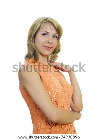 portrait of a beautiful blond young woman - stock photo