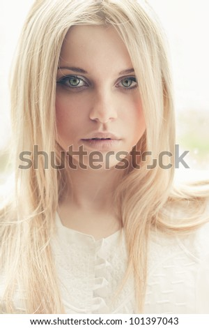 portrait of a beautiful blonde closeup - stock photo