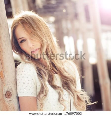 portrait of a beautiful blonde closeup - stock photo
