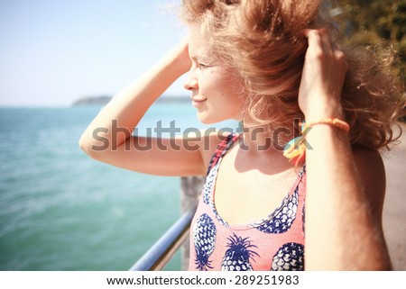 portrait of a beautiful blonde dream - stock photo