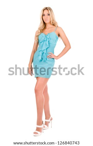portrait of a beautiful blonde on a white background - stock photo