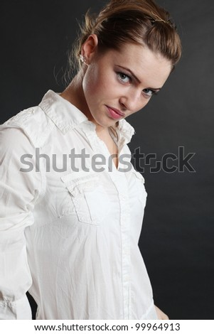 Portrait of a beautiful brown delicate woman - stock photo