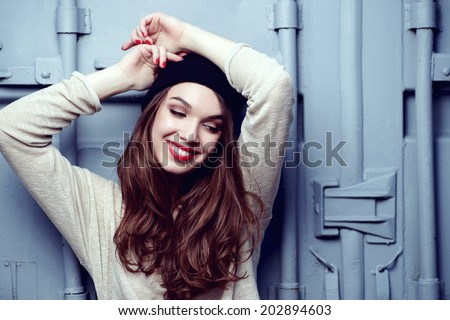 Portrait of a beautiful brunette girl with a smile, lifestyle - stock photo