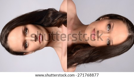 Portrait of a beautiful brunette girl with green eyes and perfect lips wearing makeup and smiling vs attractive angry woman wearing creative make up. Comparison between angry and happy, good and bad. - stock photo