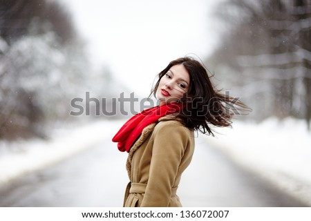 Portrait of a beautiful brunette with hair blown by wind in the winter - stock photo