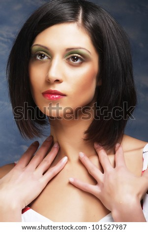 portrait of a beautiful brunette woman - stock photo