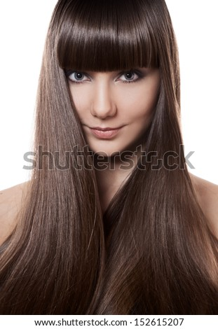 Portrait of a beautiful brunette woman with long straight hair  - stock photo