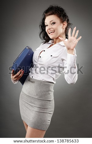 Portrait of a beautiful businesswoman holding a briefcase - stock photo