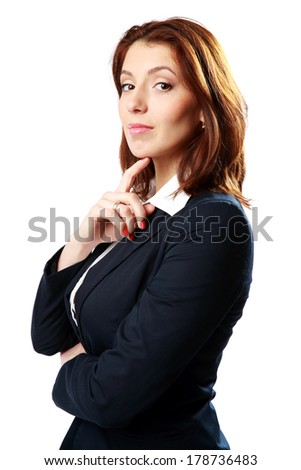 Portrait of a beautiful businesswoman isolated on a white background - stock photo