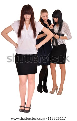 portrait of a beautiful businesswoman posing on a white background - stock photo