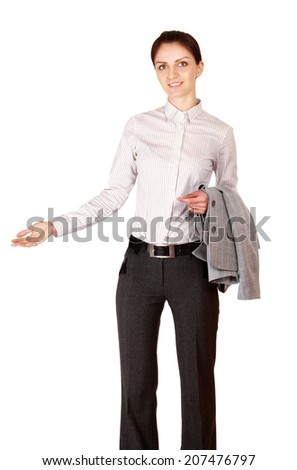 Portrait of a beautiful businesswoman standing - stock photo