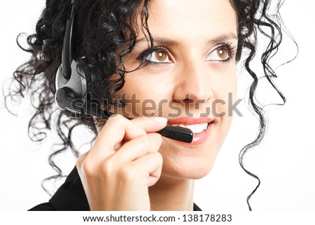 Portrait of a beautiful customer representative - stock photo