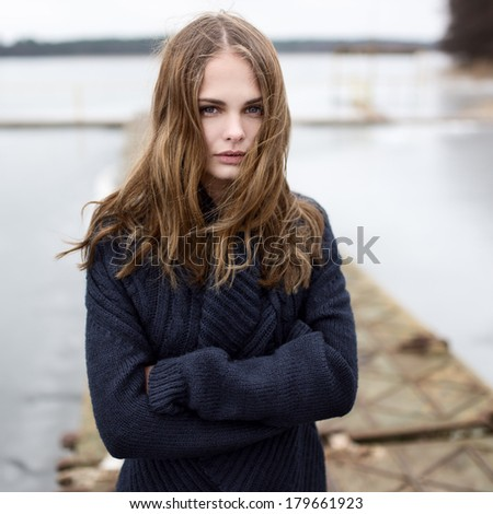 Portrait of a beautiful cute girl outdoors - stock photo