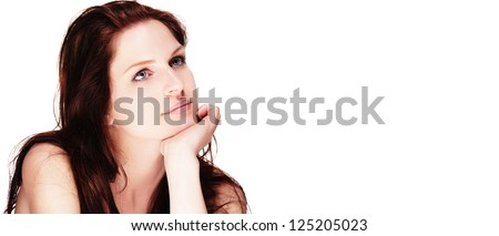 portrait of a beautiful dreaming woman on white background - stock photo