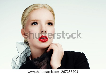 Portrait of a beautiful fashion blonde model young woman with red lips - stock photo