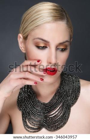 Portrait of a Beautiful Fashion Girl - stock photo