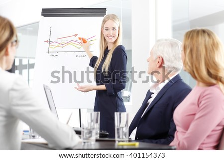 Portrait of a beautiful female business professional standing in front of clipboard and sharing her ideas with her colleagues at business meeting. - stock photo