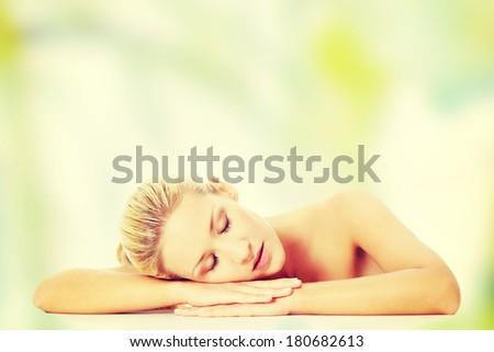 Portrait of a beautiful female model - stock photo