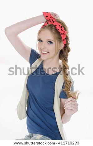 portrait of a beautiful female model. Looking  - stock photo