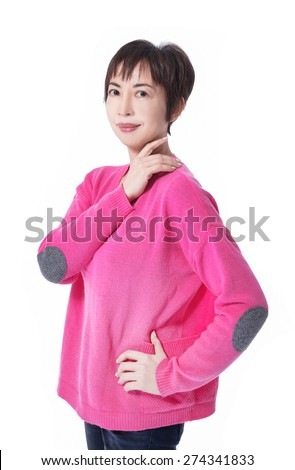 Portrait of a beautiful female standing on white background - stock photo