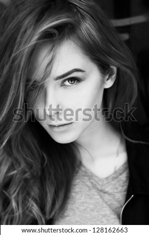 portrait of a beautiful girl closeup.  black and white photo - stock photo